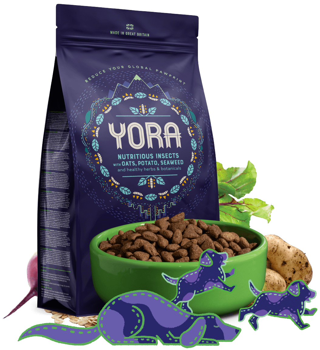 Yora nutritious insects with oats, potato, seaweed and healthy herbs and botanicals
